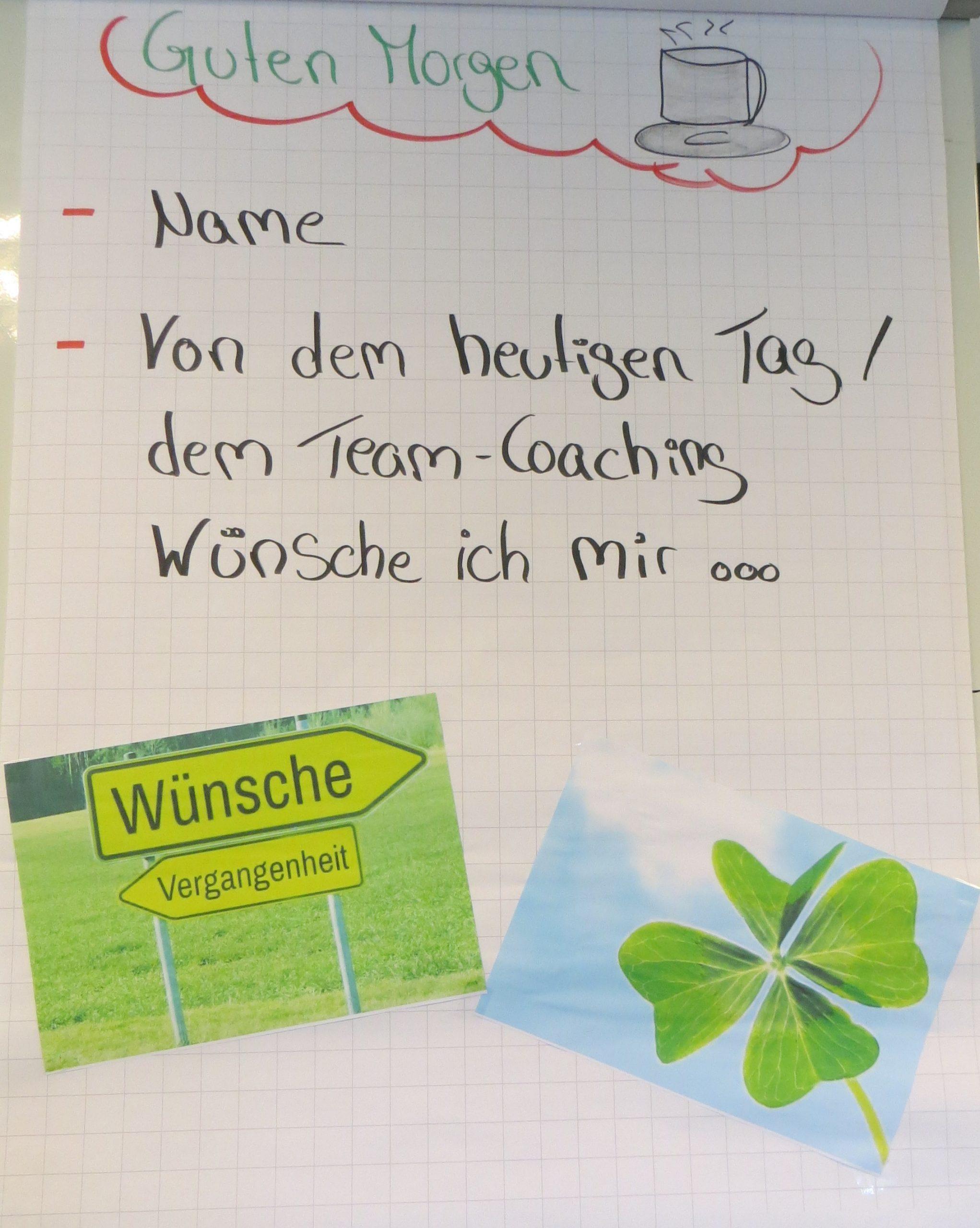 """Beispiel """"Warming Up Team-Coaching"""" (Flipchart)"""